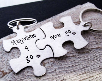 Couples Set - Puzzle Keychains - Anywhere I go - His and Hers Gift Set - Valentine's Day Gift - Boyfriend Gift - Personalized Keychain