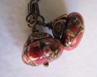 Red Earrings, Copper Earrings, Magnesite Earrings, Red Mosaic Magnesite Earrings, Copper Earrings, Red Earrings