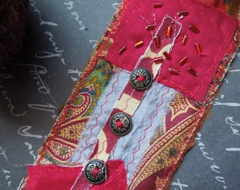 Red Textile Cuff with 4 Metal Buttons