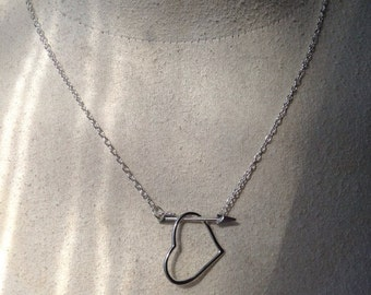 Arrow Thru Heart Necklace