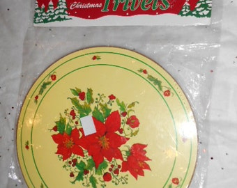 Vintage New in Pkg Christmas Round Trivet Poinsettia flowers in center