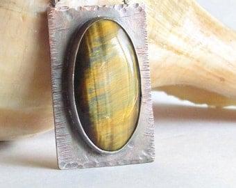 Tiger's Eye Necklace - Bronze Jewelry - Bronze Necklace - Blue Tiger's Eye - Tiger's Eye Jewelry - Rustic Necklace