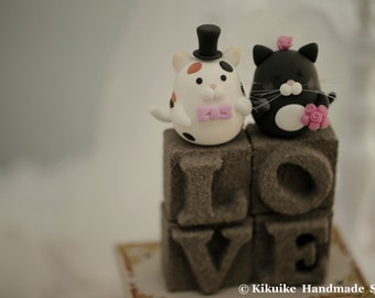 cat and kitty Wedding Cake Topper---k878