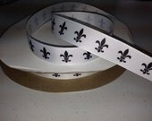 10 yards of 7/8 inch Fleur De Lis Black and white grosgrain ribbon