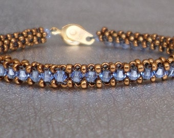 blue crystal beadwork bracelet
