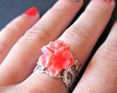 Korallen blumeblumenstrauß Silberfiligran verstellbaren Ring, Blumenring, Korallen Ring, Lachs Blumenring, Blumen-Schmuck, Silber-ring