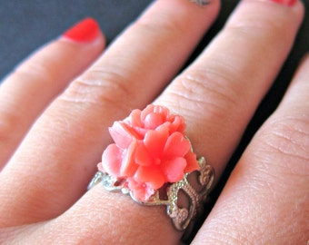 Coral Flower Bouquet silver adjustable filigree ring, flower ring, coral ring, salmon flower ring, flower jewelery, silver ring