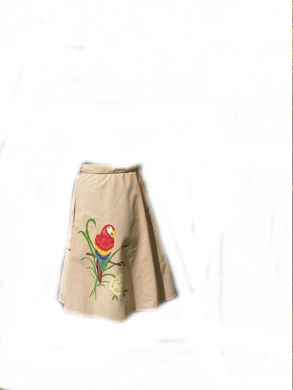 Reserved for Jin.Vintage 70s khaki cotton wrap skirt with hand paint  parrot.