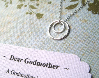 GODMOTHER Gift w POEM CARD - Choose from Two Different Poems Godmother Necklace from Godson Goddaughter Godmother Jewelry  Sterling Silver
