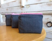 Wool Plaid and Grey/Pink Suiting Coin Purses
