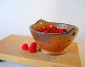 Wood fired berry bowl, strainer, dark brown, small kitchen colander, rustic modern kitchen