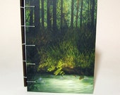 Secret Forest Pool - Coptic Bound Blank Journal, Diary, Notebook.