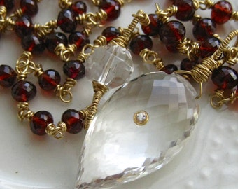 Crystal Quartz and Garnet necklace-Cloak and Dagger