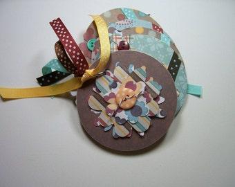 Brown and Aqua Flower Mini Chipboard Album, Mini Flower Album, Mini Flower Photo Album, Mini Flower Brag Book, Flower Album, Chipboard Album