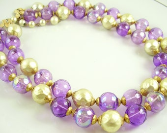 Vintage Chunky Purple and Gold Necklace, Vintage Two Strand, Gold and Purple Bead Necklace