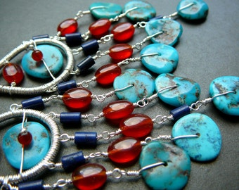 Arizona Blue wire wrapped chandelier earrings  - fine silver , Arizona blue turquoise, carnelian agate and lapis lazuli gemstones