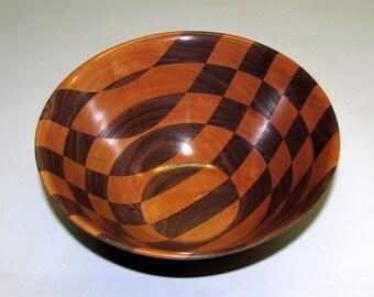 Handmade Checkerboard Cherry and Black Walnut Wood Bowl OOAK