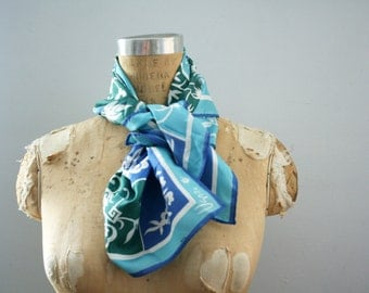 vintage 70s Vera Neumann Flowers Suns Birds & Butterflies Blues and Greens Scarf Neck Tie