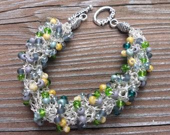 Bracelet Bangle Green Gray Silver Teal Bone Beaded Knitted Bangle Bracelet Gift for Her Gift for Mom
