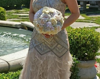 Brooch Bouquet of Realtouch and Silk Rose Blush Peonies Silver Anniversary Bridal Bridesmaids Bouquet Set