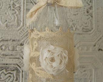 Handmade Bud Vase Flower Vase Vintage Vase Altered Bottle Shabby White Decor Cottage Style Vintage Bottle Vintage Lace Rhinestone