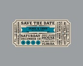Save the Dates - Vintage Antique Victorian Edwardian Rustic Die Cut Banner Wedding Save the Date