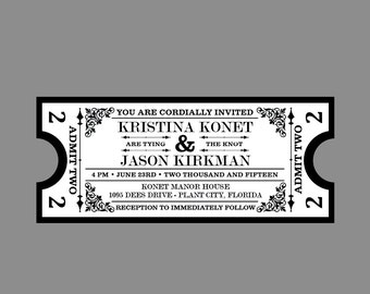 Rustic Wedding Invitations, Vintage Antique Victorian French Country Cottage Chic Rustic Movie Ticket Wedding Invitation Set