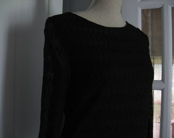 Vintage Black Polyester Blouse by Bleekerst