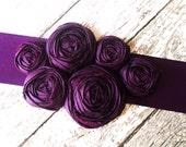 Custom Bridal Sash-Silk Rosettes on Satin Sash