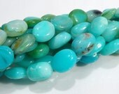Natural Peruvian Blue Opal Oval Gemstone Beads....7-11 mm.....8 Beads