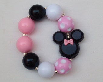 Disney Classic Light Pink Minnie Mouse Inspired Chunky Bracelet, M2M Girls Chunky Necklace