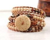 Cream Wrap Bracelet Green Gypsy Wrap Bracelet Red Bohemian Jewelry 4x Wrap Boho Jewelry Brown Hippie Jewelry Rustic Jewelry Leather Jewelry