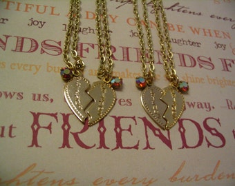 Four Friends Necklaces with Rhinestone for Sisters or Friends