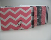 Set of 6 Small Embroidered  Makeup Bags, Personalized Clutch, Monogrammed Zipper Pouch, Your Choice, Made to Order