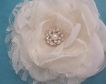 Bridal Hair Flower,  Ivory Lace, Organza and Tulle Rose Hair Clip  E155, bridal hair accessory