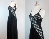 Black VINTAGE VIXON nightgown / black floor length slip