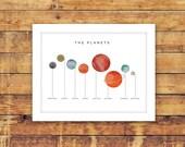 planets children's art print 8x10, planets nursery art, nursery wall art, modern wall art, educational nursery wall art, 8x10 planets print