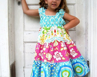 Girls Blue Dress - Turquoise Dress - Beach Dress