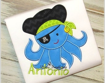 Pirate Octopus Appliqued Shirt for Boys - Personalization Available