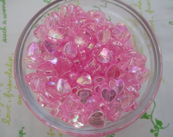 New item Tiny Shiny Heart beads 50pcs 9mm AB Pink