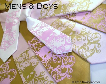Skull ties. Mens and boys tie set