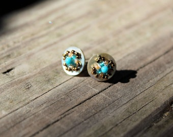 Hand Made earrings with vintage shell buttons and 2mm turquoise and seed beads