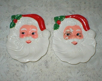2 Vintage Santa Face Christmas Wall Plaques Candy Nut Dish Spoon Rest