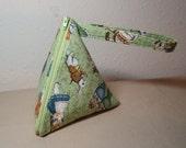 Green Alice in Wonderland Pyramid Zipper Pouch Wristlet