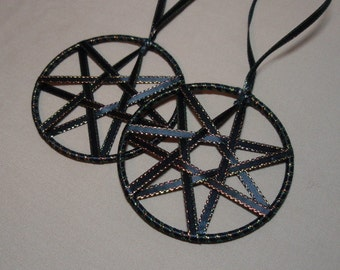 Black Faerie Ribbon Star - Ornament Yule Christmas or Samhain Set of Two