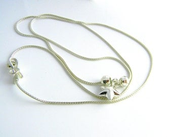 "Shining Star Modern Chic 20"" Sterling Silver necklace."