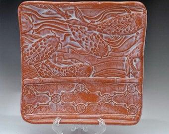 Ceramic Koi Fish Embossed Serving Plate