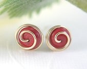 Rose red howlite rosebud post earrings gold filled wire wrapped gemstone