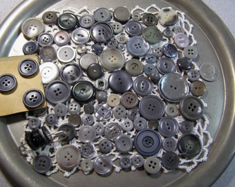 Buttons Mix of 100 Vintage in Shades Grey-Grays