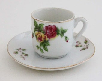 Vintage Norcrest Demitasse Tea Cup and Saucer with Roses